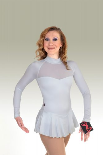 OBC_564c_Arctic White Lycra Full Sleeve with skirt and mesh chest_FS Dress_FRONT_IMG0812